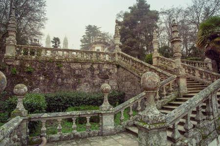 Foggy Park and Baroque stairs of the Sanctuary of Nossa Senhora dos Rem?dios Lamego Portugal