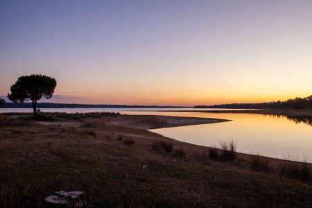 purple Sunset at the Montargil Reservoir Ponte de Sor Portugal Nature Travel