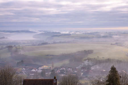 Foggy panoramic view in Langres France Travel Europe