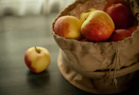 apples in saclcloth fresh helthy season fruits vintage