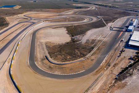 Andalusia Spain December 2020 Aerial view of the Circuito De Almeria Race Track in the Tabernas Desert