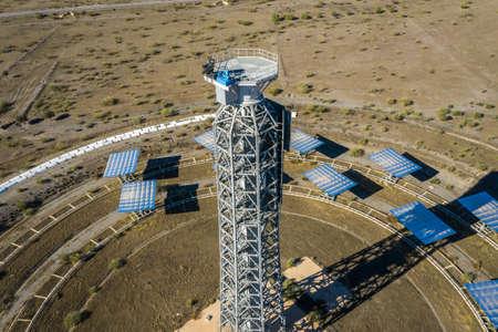 Drone aerial photography of the Plataforma Solar de Almería Center for research into solar energy use Editorial