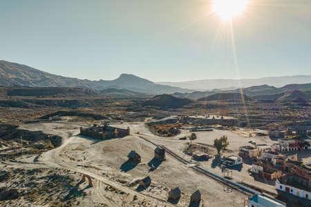Drone above view of Tabernas Desert Landscape Texas Hollywood Fort Bravo the western style theme park in Almeria Andalusia Spain Europe Standard-Bild