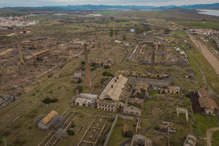 Aerial view of the Abandoned former mining operations peñarroya-pueblonuevo Spain Abandoned Industry Places
