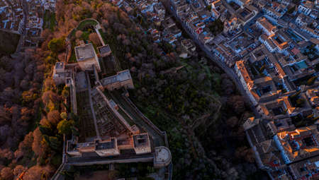 Granada Spain December 2020 Aerial view of the Alhambra Palace in sabikah hill Travel South Europe