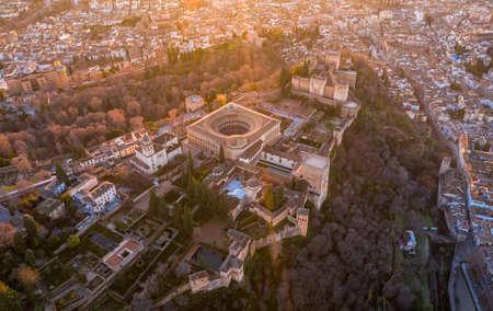 Granada Spain December 2020 Aerial view of the Alhambra Palace in sabikah hill Travel Europe Standard-Bild