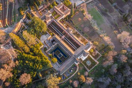 Granada Spain December 2020 Aerial view of the Alhambra Palace in sabikah hill Granada Spain Editorial