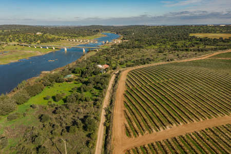 Aerial view of the industrial griculture landscape and the river Guadiana in Olivenza Extremadura Spain