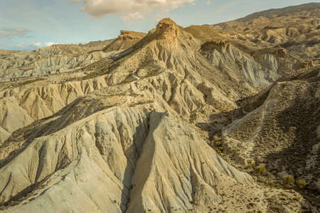 drone Aerial view of Tabernas desert landscape in Andalusia Almeria Spain Only desert in Europe