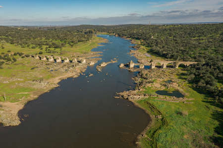 Aerial view of the border river Guadiana Between Elvas Portugal And Olivenza Spain and the historic Ajuda Bridge