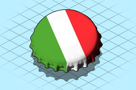 Isometric Bottle Cap isolated on cyan background, Italy flag on it