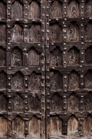 TEXTURE - Ancient Wood armored door or gate usable as texture Stock Photo