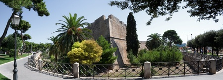 panorama shot of a medieval castel in daylight from Manfredonia Apulia in Italy. historical building from middle age