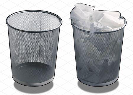 wastepaper basket: Sfondo bianco di un caso cestino della carta straccia Archivio Fotografico