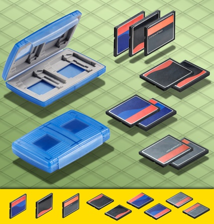 Isometric Photograph - Set of 3 CF Cards and a Blue Card Case  with copy space  on all Cards - All my ISO shots are modular and you can use them mixing together having the same angle of prospective - really good to make composition or place all stuff on a