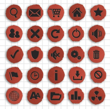 Infographics photograph of a set of Hand Made on red paper Web Icons isolated on white Stock Photo