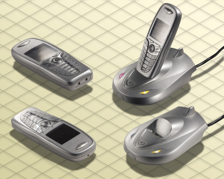 Isometric Photograph - Cordless Telephone wireless isolated on white with clipping path included - All my ISO shots are modular and you can use them mixing together having the same angle of prospective - really good to make composition or place all stuff  Stock Photo