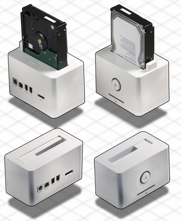 Isometric Photograph - set of External White HardDisk Box Firewire, USB 2.0 and Sata isolated on white with clipping path included - All my ISO shots are modular and you can use them mixing together having the same angle of prospective - really good to ma Stock Photo