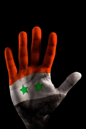 A opened Hand with the Syria Flag painted on it, like saying STOP violence! Red, Black, White and two Green Stars