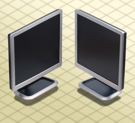 Isometric Photograph - Set of two position LCD monitor - All my ISO shots are modular and you can use them mixing together having the same angle of prospective - really good to make composition or place all stuff on a ISO desk