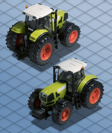Isometric Photograph - Agricolutural Tractor, model toy with Clipping path included - All my ISO shots are modular and you can use them mixing together having the same angle of prospective - really good to make composition or place all stuff on a ISO desk Stock Photo