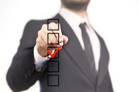 Businessman choosing on 5 box with the V sign photo