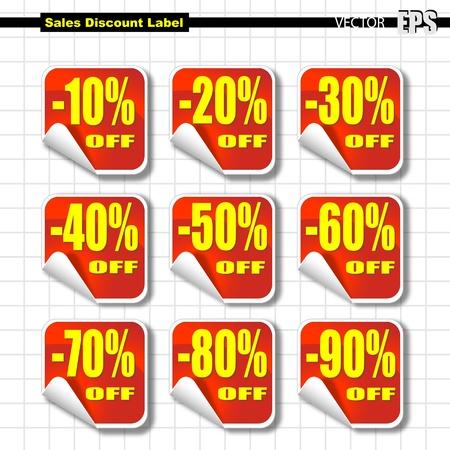 Jeu de vente avec étiquette Pourcentage de réduction