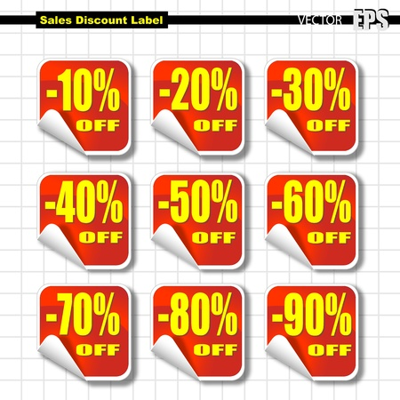 sales promotion: Set of Sales Label with Percent of Discount