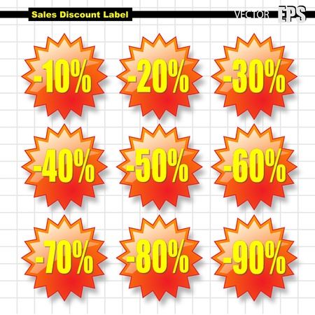 Set of nine Star shape label used to show the discount on the article in sale for price list