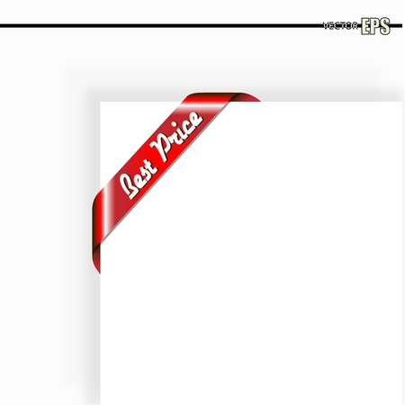 Corner Best Price Red Ribbon Best Price on it Illustration