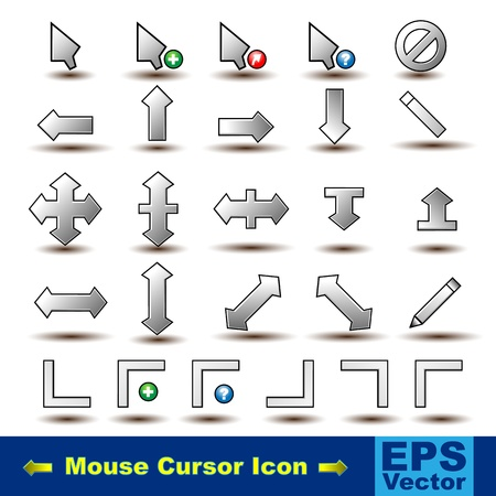 Set of 26 Mouse Pointer Cursor Icon. Illustration