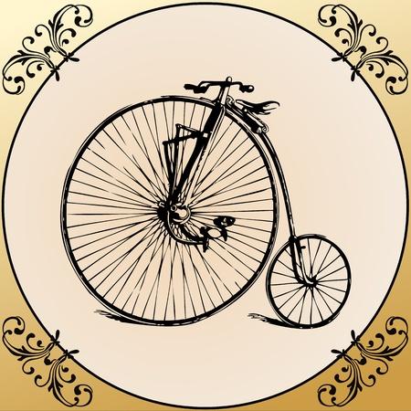 retro bicycle: Bicicletas retro en un fondo floral enmarcado vendimia