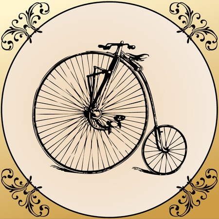 Retro Bicycle on a vintage framed floral background Vector