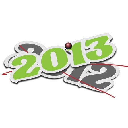 one year old: El cambio de a�o nuevo 2013 en la parte superior de la antigua 2012 Vectores