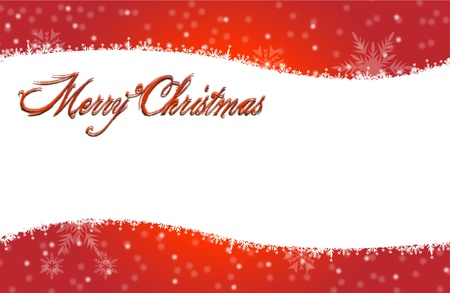 Merry Christmas card with white snow icon on red BG
