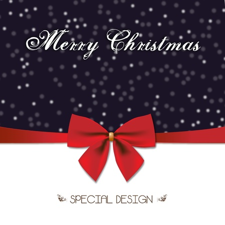 Merry Christmas special design and Red Gift Bow  Xmas decoration for cards and Men� witha  special and elegant graphics and red Gift Bow