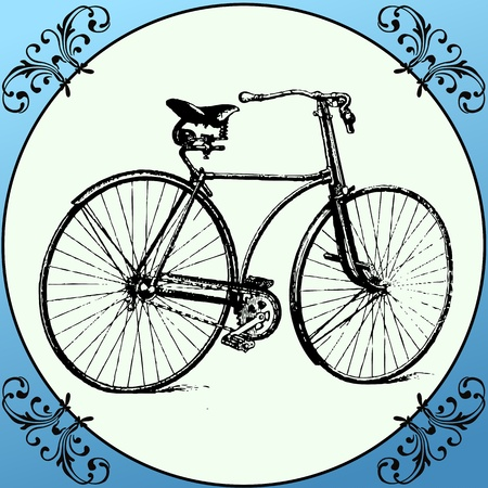 Vintage Bicycle with decoration frame  Retro Bicycle on a vintage framed floral background