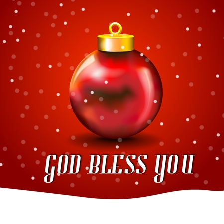 Christmas Ball Card with snow, and free copy space  Merry Xmas card with ball and white copyspace and God Bless You typed Vector