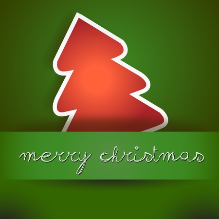 Green Merry Christmas Card with Red Tree  Green Merry Xmas card with the Tree Icon, and copyspace with an hand written wish text Stock Vector - 15843067