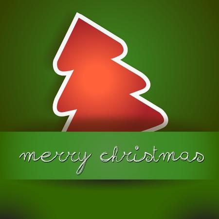 two thousand thirteen: Verde Tarjeta de la Feliz Navidad con el �rbol rojo tarjeta verde Feliz Navidad con el icono del �rbol, y copyspace con una mano escrito deseo texto