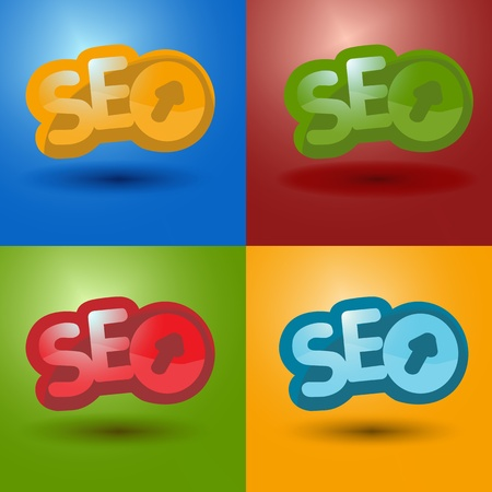 SEO logo in 4 different color  Searching Engine Media, Marketing and Optimization Icons in four color. Illustration