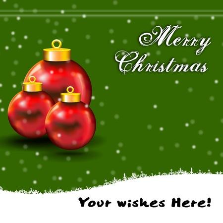 Christmas Ball Card with snow Vector