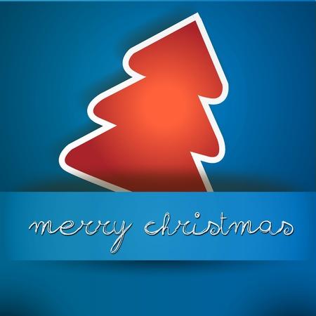 two thousand thirteen: Azul Tarjeta de la Feliz Navidad con el �rbol rojo tarjeta azul Feliz Navidad con el icono del �rbol, y copyspace con una mano escrito deseo texto