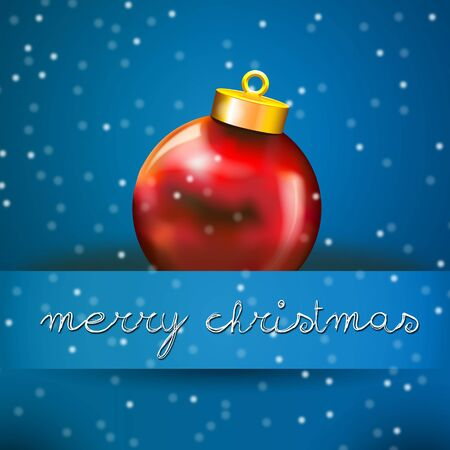 Blue Merry Christmas Card with Red Xmas ball Vector