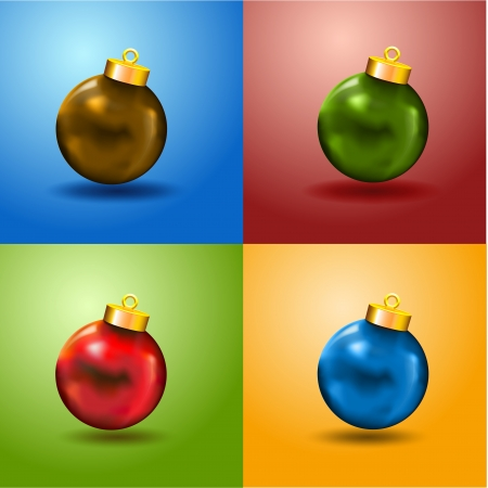 4 Color Christmas Balls Card and free copy space  Merry Xmas card with 4 color balls and copyspace Green  Blue, Red and Yellow Illustration