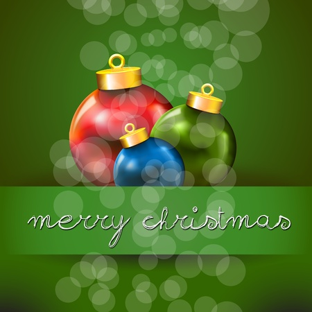 Green Merry Christmas Card with Three Colored Xmas ball Vector