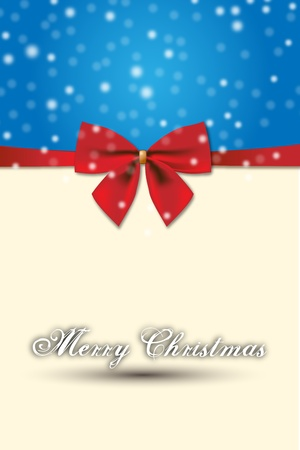 Merry Christmas special design and Red Gift Bow  Xmas decoration for cards and Men� with a  special and elegant graphics and red Gift Bow