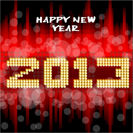 two thousand: Happy new year s eve with a multicolored background, bright text like little light ball  Illustration