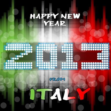 two thousand thirteen: Feliz a�o nuevo s eve con un fondo multicolor de texto, brillante como bola de poca luz y los colores de la bandera italiana, verde, blanco, rojo Italia