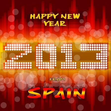 bandiera spagnola: Happy new year s vigilia con un sfondo multicolore, testo di colore chiaro come la pallina po 'di luce ed i colori della bandiera spagnola, giallo e rosso Spagna